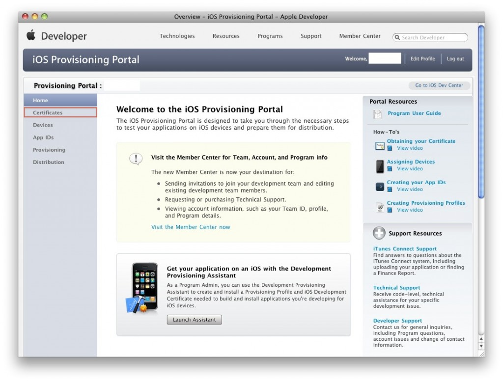 Apple Developer Provisioning Portal Home